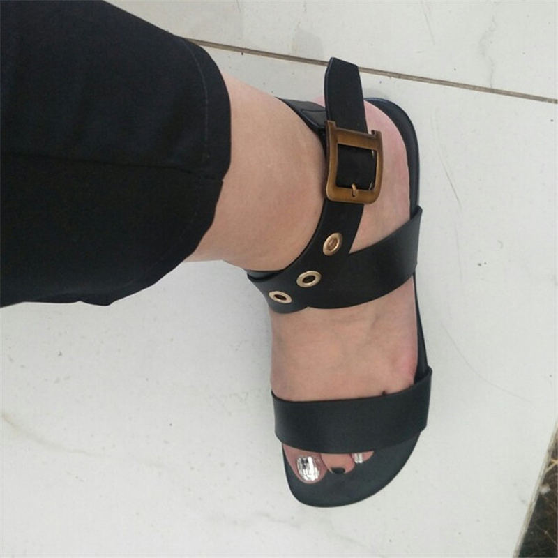 Black Leather Beach Sandals Women Luxury Brand Flats Summer Gold Square Metal Buckle Belts Casual Flat Shoes Woman Sandalias|Women's Sandals| | - AliExpress
