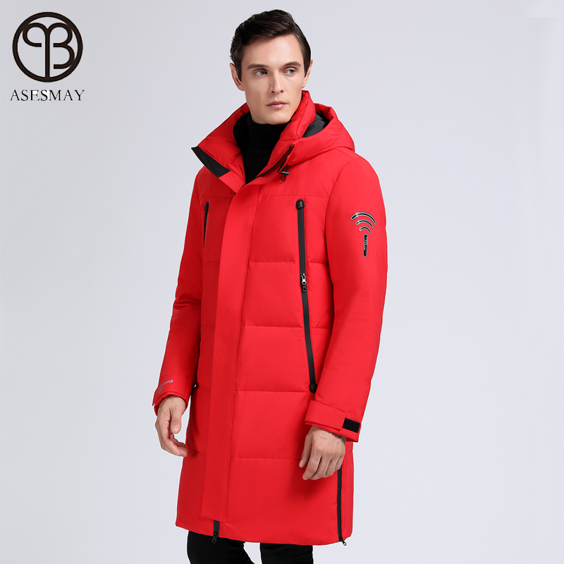 2019 brand clothing men winter coat white duck down jacket warm long casual parkas polyester windbreaker tracksuits outerwear - 4