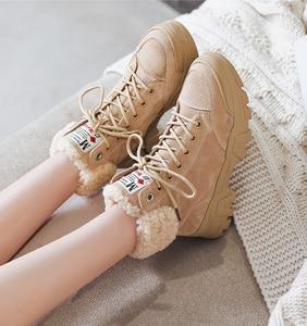 Image 2 - Fujin 여성 부츠 겨울 따뜻한 발목 부츠 레이스 업 부츠 모피 견면 벨벳 신발 여성을위한 편안한 겨울 스노우 부츠