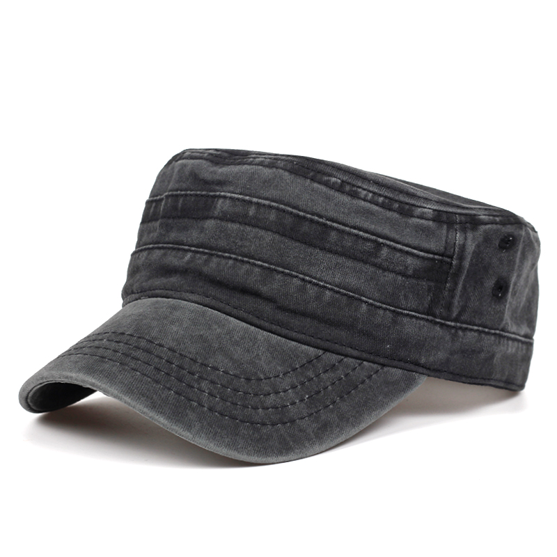 2019 Classic Vintage Flat Top Mens Washed Caps And Hat Adjustable Fitted Thicker Cap Winter Warm Military Hats For Men