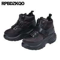 women creepers platform shoes thick sole black runway elevator sneakers harajuku china genuine leather muffin designer trainers