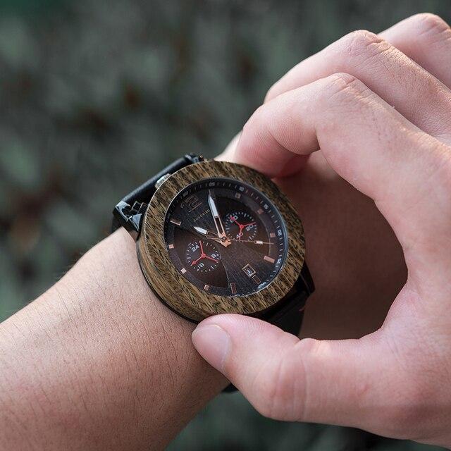 BOBO BIRD Man's Wood Watch Men relogio masculino Quartz Timepieces Chronograph Show Date Military Wristwatches Dropshipping