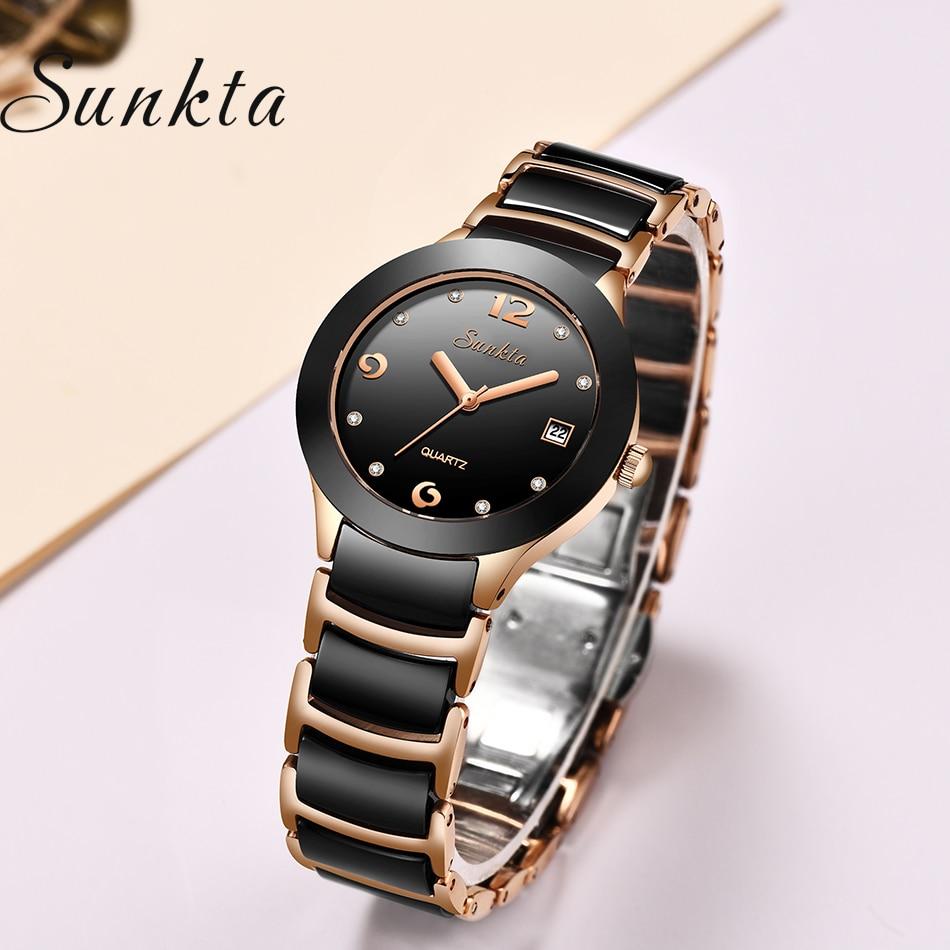 reloj mujer SUNKTA Women Watches Top Brand Luxury Stainless Steel Strap Watch Ladies Analog Quartz Wristwatch Simple Style Clock in Women 39 s Watches from Watches
