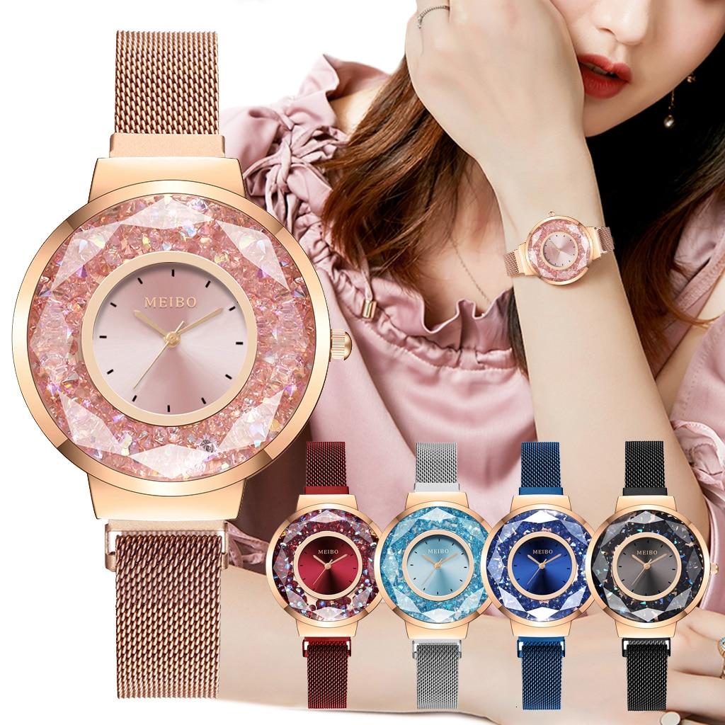 Women Magnet Buckle Moving Diamond Watch Luxury MEIBO Brand Ladies Quartz Wristwatches Reloj Mujer For Christmas Gift Clock