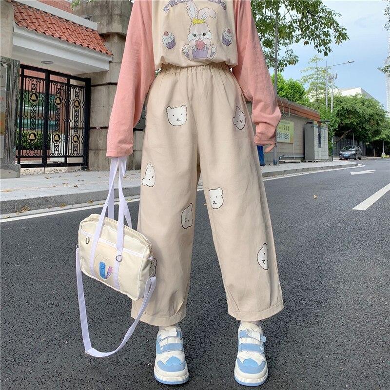 Japonês kawaii macio menina bonito urso impressão calças femininas base selvagem cintura alta calças soltas cintura elástica casual estudante pant Calças e capris    -