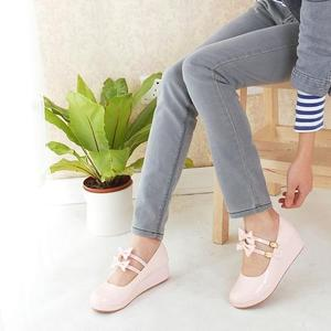 Image 4 - Anime cosplay sweet lolita shoes round head muffin heel shallow mouth women shoes bowknot kawaii shoes loli cos