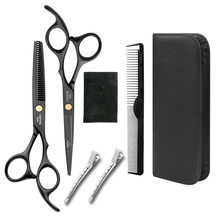 Professional Japan 440 Steel 6 Inch Black Hair Scissors Set Cutting Barber Salon Haircut Thinning Shears Hairdressing Scissors(China)
