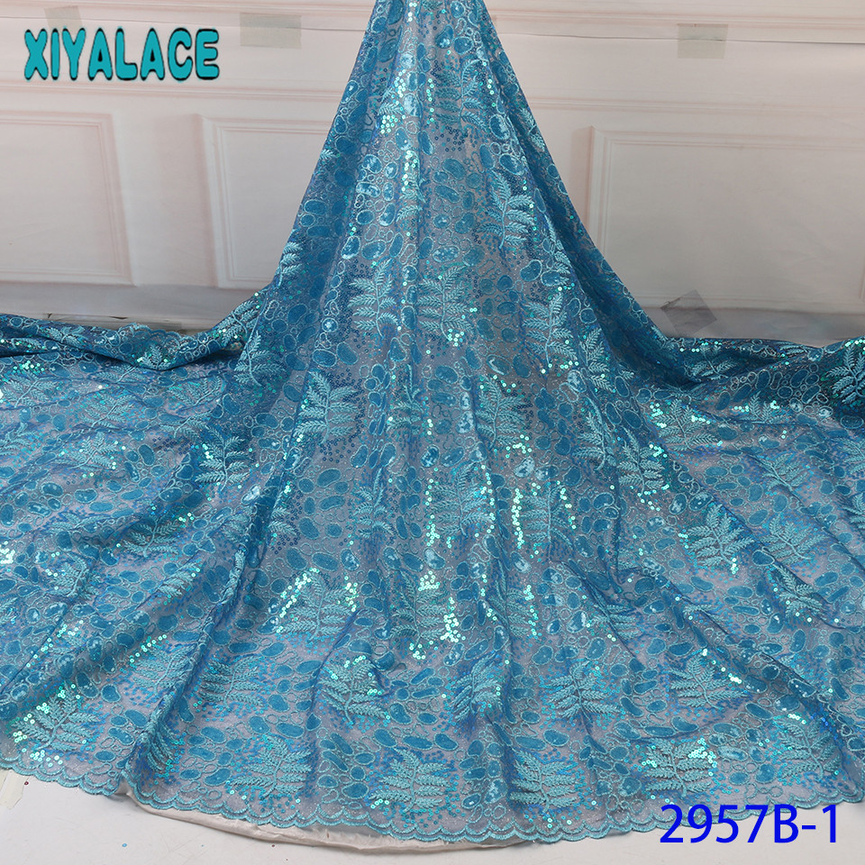 French Tulle Lace Fabric With Sequins,Nigeria Lace Fabric High Quality, Hot Sale Double Net Lace For Asoebi Dresses KS2957B-1