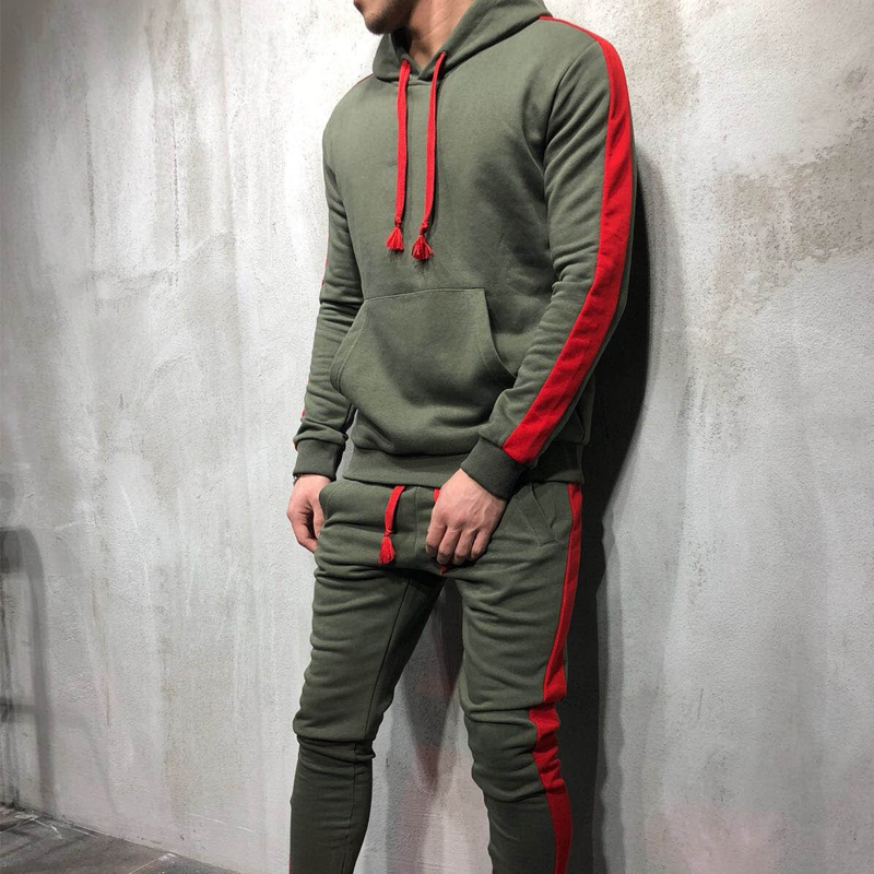 ZOGAA 2019 Men's Casual Hoodies Sets Fashion Color Block Tracksuit For Men Sweatsuits Male Outfit Sportswear Mens Track Suit Set
