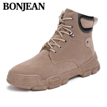 New Autumn Men Boots Leather Warm Western Comfortable Hight Top Ankle Vintage Increase Casual Shoes Winter