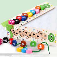 Numero di legno di Apprendimento Del Bambino Giocattoli Colorati Tesatura Threading Caterpillar Digitale Che Borda Montessori Matematica Giocattoli Educativi
