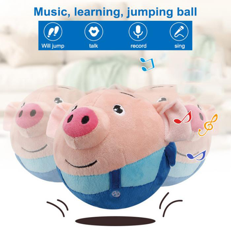 120 Songs Recordable Cartoon Pig Doll Toys Bouncing Ball USB Electric Plush Beating Sing Jump Cute Toys For Children Gifts