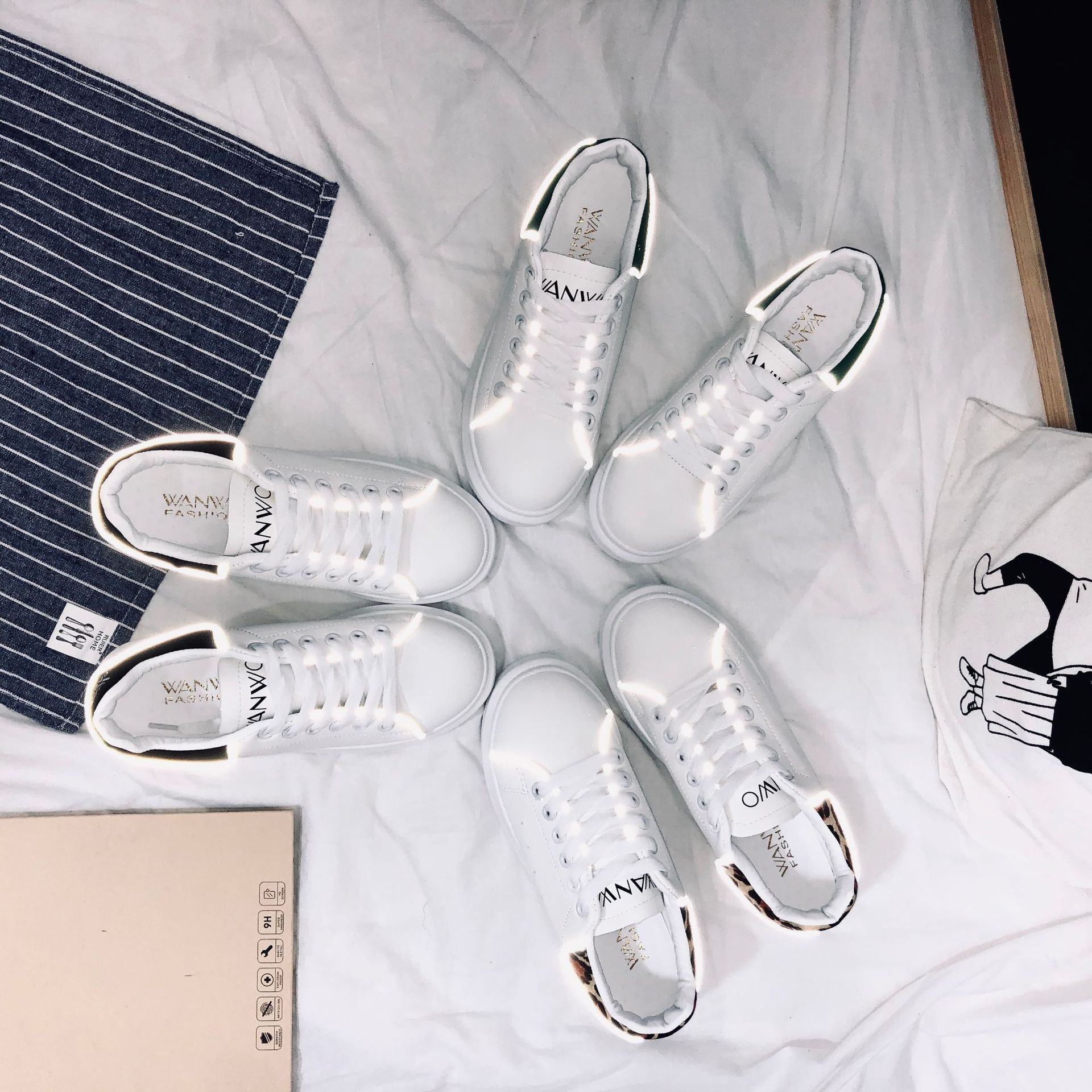Yuan Shanshan Celebrity Style McQueen White Shoes Student 2019 Autumn New Style Korean-style Versatile Platform Thick Bottom Pla