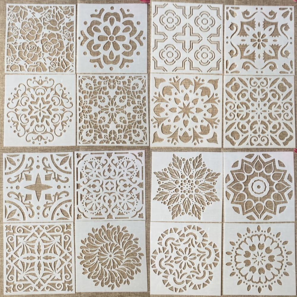 16Pcs/Set 15*15cm Mandala Geometry DIY Layering Stencils Wall Painting Scrapbook Coloring Embossing Album Decorative Template