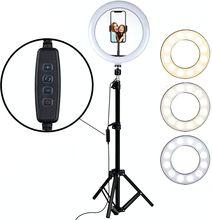 Светодиодный кольцевой светильник, 160 см, штатив, держатель для телефона, лампа для селфи, макияжа, прямой трансляции, YouTube, приглушаемый коль...