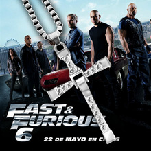 Fast And Furious 8 Moive Cross Tourette Necklace Toy Dominic Toretto Cross Plated Pendant Necklace For Men Toys For Children staryee 925 sterling silver the fast and furious 8 dominic toretto cross pendant necklace vin diesel men women free engraving