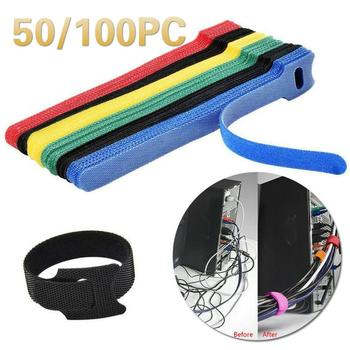 50/100 Pcs Nylon Strap HookT-type Cable Tie 12*150 Mm Velcros Adhesive Sticker Hook And Loop Wire Storage Cable Tie Wire TSLM1