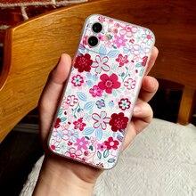 Voor Iphone 12 11 Pro Max Se 2020 7 8 Plus X Xs Xr Xs Max 12 Mini Telefoon Case luxe Rood Roze Bloem Siliconen Bescherming Cover