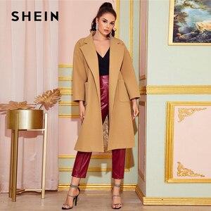 Image 5 - SHEIN Camel col cranté ourlet fendu élégant ceinturé Trench Coat femmes automne solide Double poche avant bureau longue vêtements dextérieur