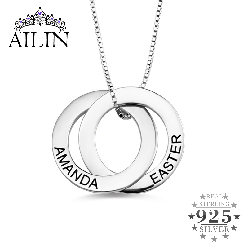 AILIN Customized Russian Double Russian Circle Necklace In Sterling Silver Mother's Day Gift