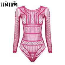 Suits Bikini One-Piece Nightwear Leotard-Bodysuit Long-Sleeves High-Cut Hollow-Out Womens