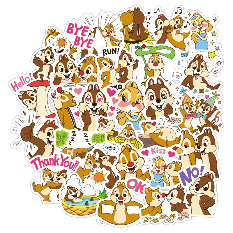 Cute Creative 40 Chip 'n' Dale Stickers Cute Children's Cartoon Stickers Hand Book Stickers Mobile Computer Stickers