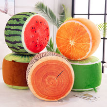 Inflatable fruit stool sitting Kiwi Stump Watermelon Orange Lime lemon Creative plant pillow cushion plush Children toy gift(China)