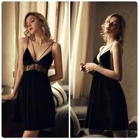 French Sexy Sleepwear Women Lace Hollow Sling Backless V-neck Nightdress Velvet Night Dress Lingerie Winter Nightgown 6