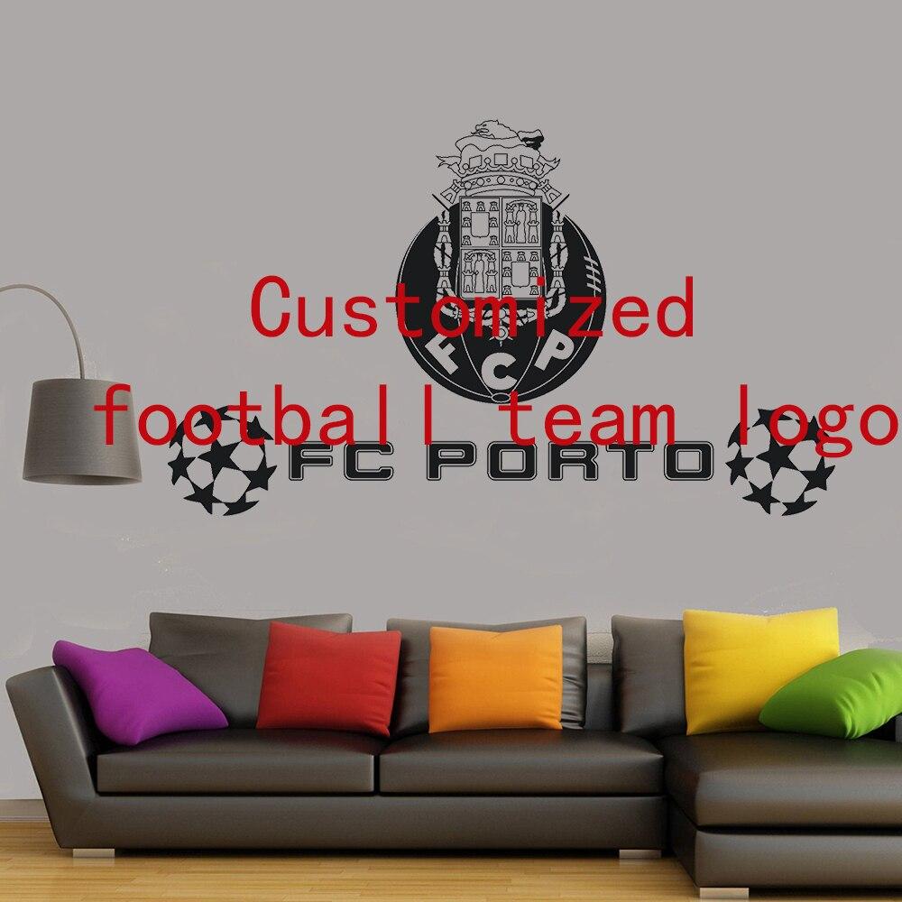 Customized Football Team Logo Wall Sticker Kids Room Bedroom Living Room Vinyl Decal FC Porto Removable Decoration DIY Mural D16