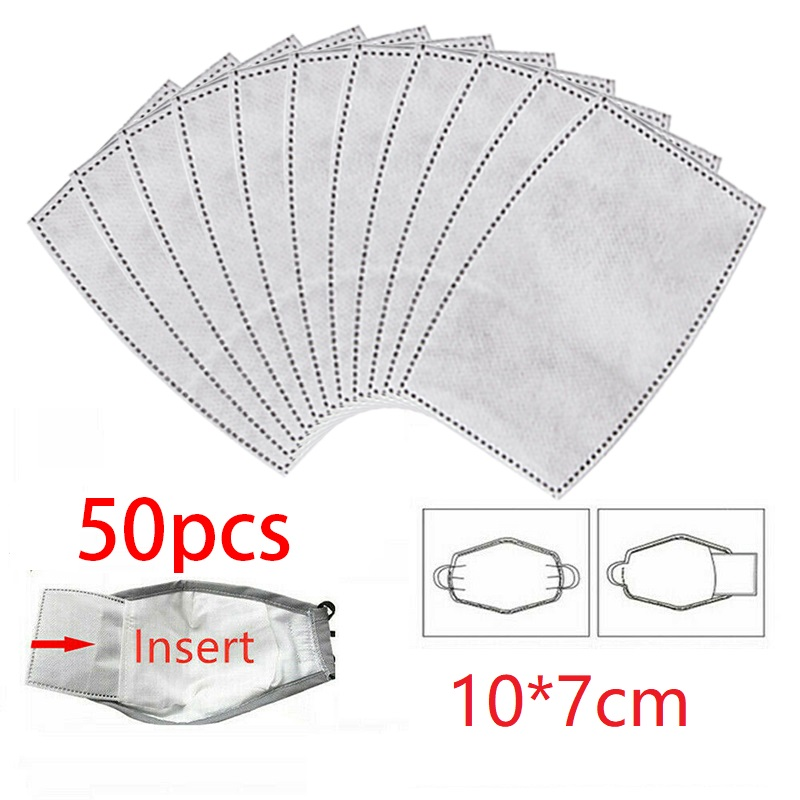 50pcs Breathable Bacteria-proof Sport Face  Cover Filter Accessories With Activated Carbon PM 2.5 Anti-pollution Cycling Facial