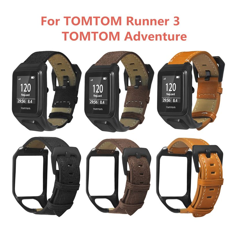 Replaced Genuine Leather Wrist Strap Metal Clasp Buckle Watchband Bracelet For TomTom Runner 2 3/Spark 3 Cardio/Music/Adventurer