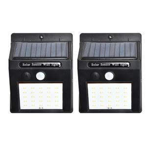 2 unids/set 20 Luces Solares LED Sensor de movimiento luz de pared al aire libre jardín patio lámpara impermeable al aire libre luz impermeable