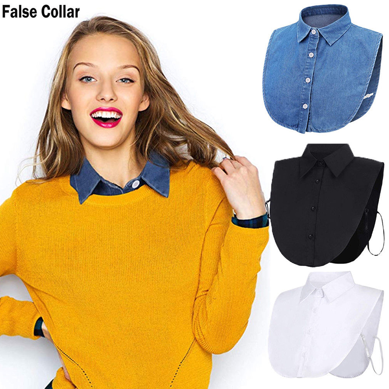 Women Ladies Fake False Lapel Half Shirt Style Blouse Detachable Removable Collar Unisex Men Women Accessories Neck Decor