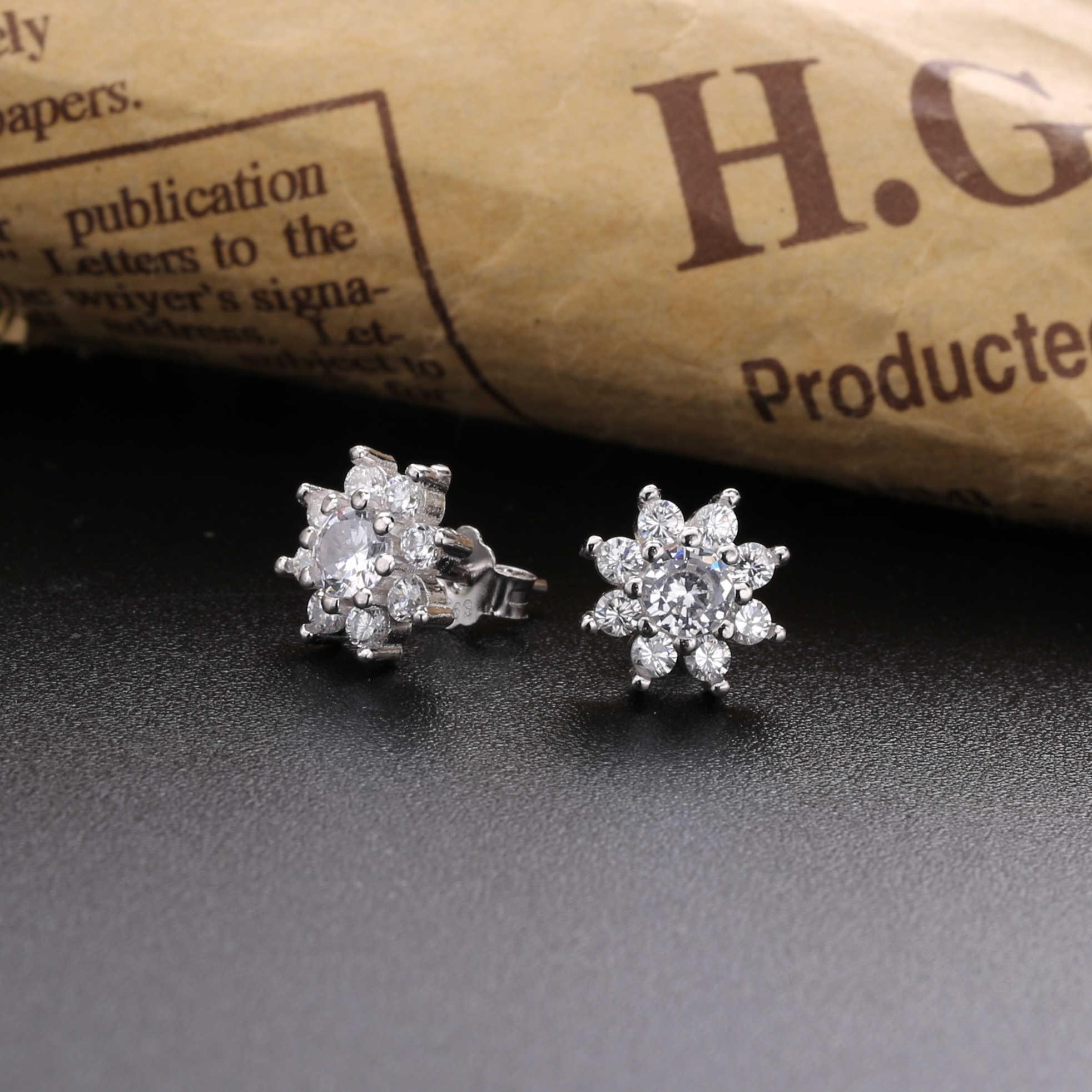 Slovecabin 925 Sterling Silver Cluster Bunga Kristal CZ Stud Anting-Anting Bintang Blossom Telinga Perhiasan untuk Wanita 2019 Modis