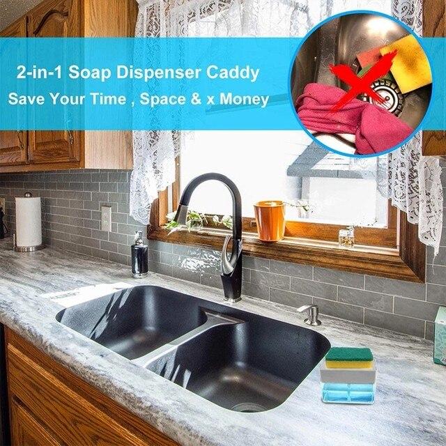 Distributore di 2-in-1Soap E Spugna Caddy Spugna Cremagliera Dispenser di Sapone 13 Once Creativo per La Pulizia Della Cucina #1230 6