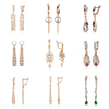 High Quality Unique Long Earrings for Women Girls Cubic Zircon Hollow Carving Cute Vintage Dangle Earring 23 Styles