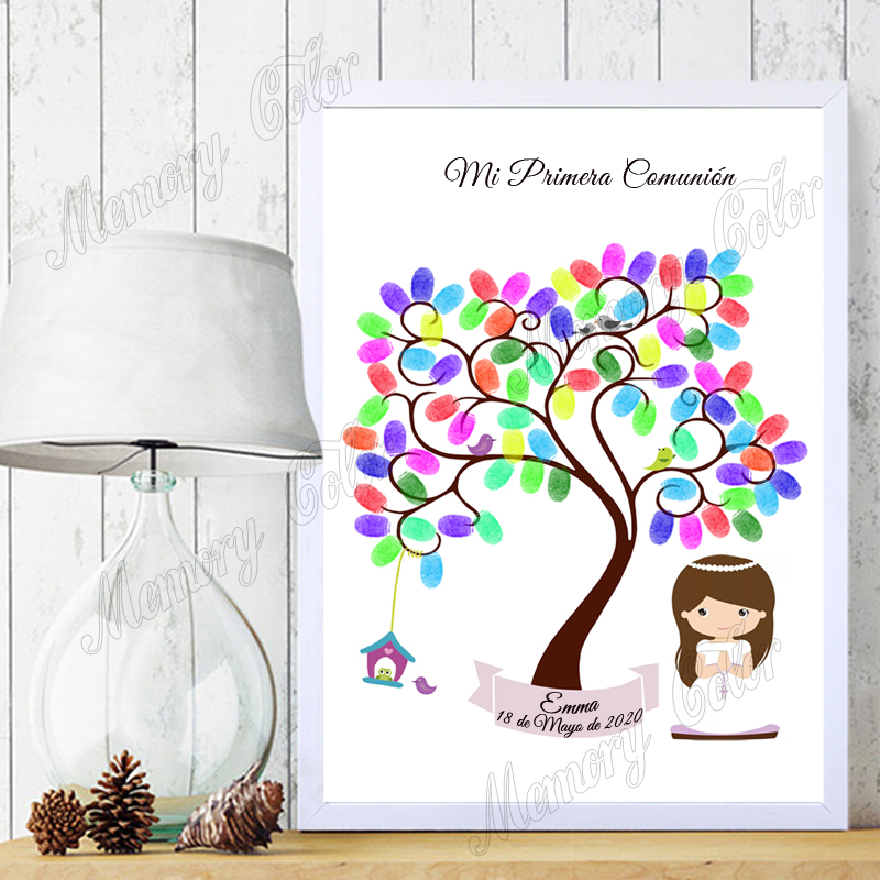 Custom Theme Name Date Fingerprint DIY Canvas Guestbook For Kids Baptism Birthday Holy Communion Souvenir (Ink Pad Included)