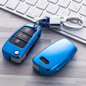 Image 4 - Auto Auto Styling Weiche TPU Schlüssel Fall Für Audi A1 A3 A4 A5 Q7 A6 C5 C6 Auto Halter Shell fernbedienung Abdeckung Auto Styling keychain