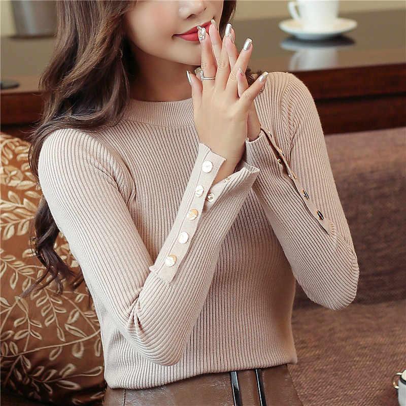 2019 סתיו נשים סוודר סרוג ארוך שרוול O-צוואר סוודרי ליידי Slim חולצות בציר כפתור משרד סוודרים