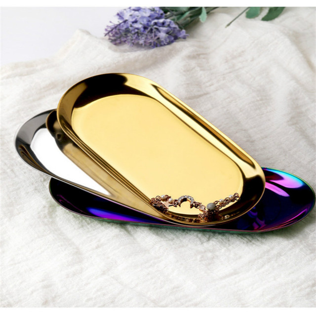 Stainless Steel Gold Dining Plate Nut Fruit Cake Tray Snack Kitchen Plate Nordic Western Steak Kitchen Plate Dessert Plate 6