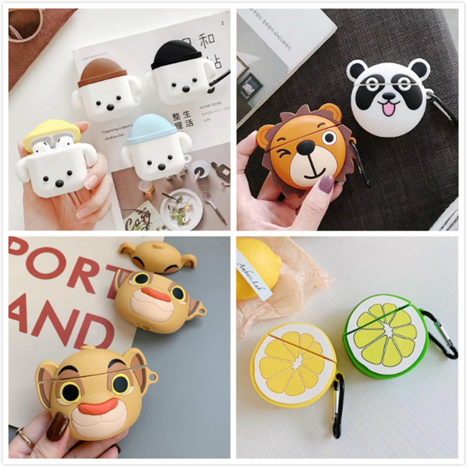 3D Unicorn Earphone Case For Airpods 2 Case Silicon Crab Cover For Airpods 1 Headphone Case Flower Earbuds Case Cover Ring Strap