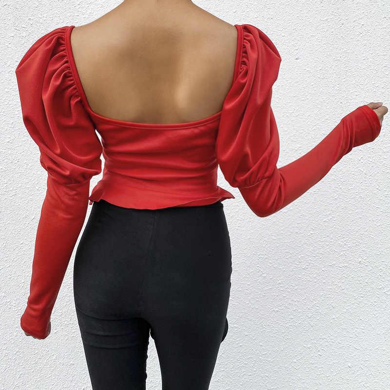 הצפנה כיכר צווארון Ruched נשים חולצות וחולצות סקסי ללא משענת פאף שרוול אופנה חולצות חולצות Streetwear המוצק חדש