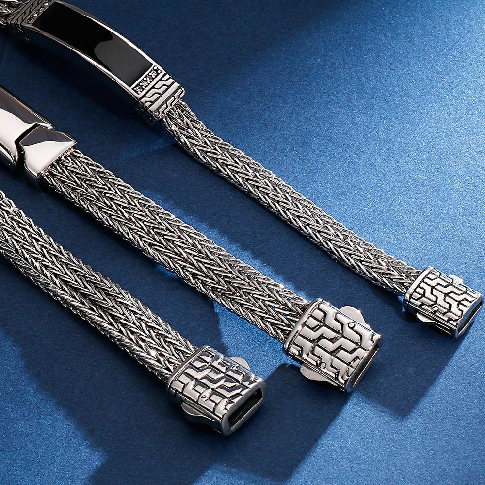 Image 4 - 22CM Long Friendship Bracelets Vintage Resin ID Bracelet For Men Quality 316L Stainless Steel 10MM Wide Chain Jewelry Drop ShipID Bracelets   -