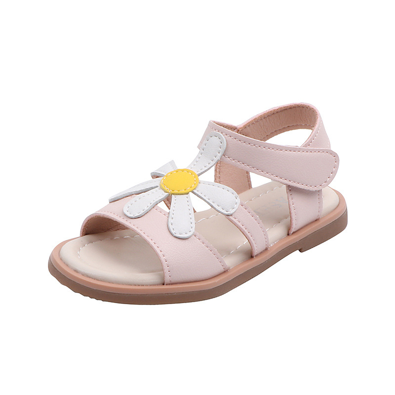Girls Open-toe Beach Sandals Children's Sweet Flower Princess Shoes Summer Girls Floral Flats Soft Small Middle-aged Kids Shoes
