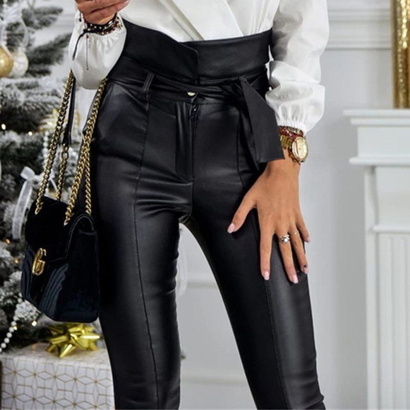 InstaHot Gold Black Belt High Waist Pencil Pant Women Faux Leather PU Sashes Long Trousers Casual Sexy Exclusive Design Fashion 17