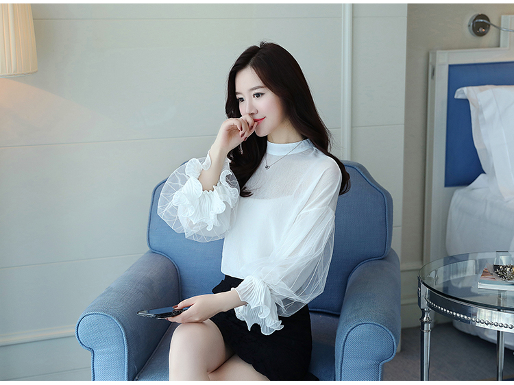 2019 Women tops and Blouses ruffless Summer autumn Long Sleeve White Shirt Casual Female Chiffon Blouse Women Clothing plus size 30