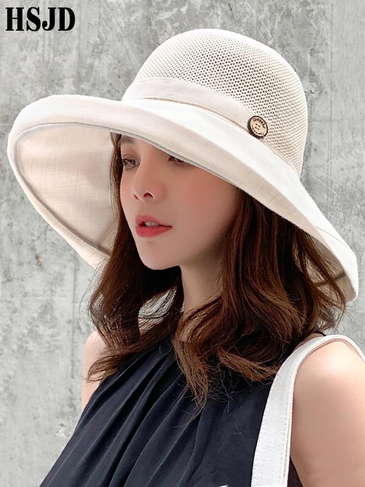 Women Summer Foldable Anti-UV Beach hat Solid Color Net Mesh Large Wide Brim Sun Hat Lady's Cloth Sunscreen Cap 2019 Female Cap