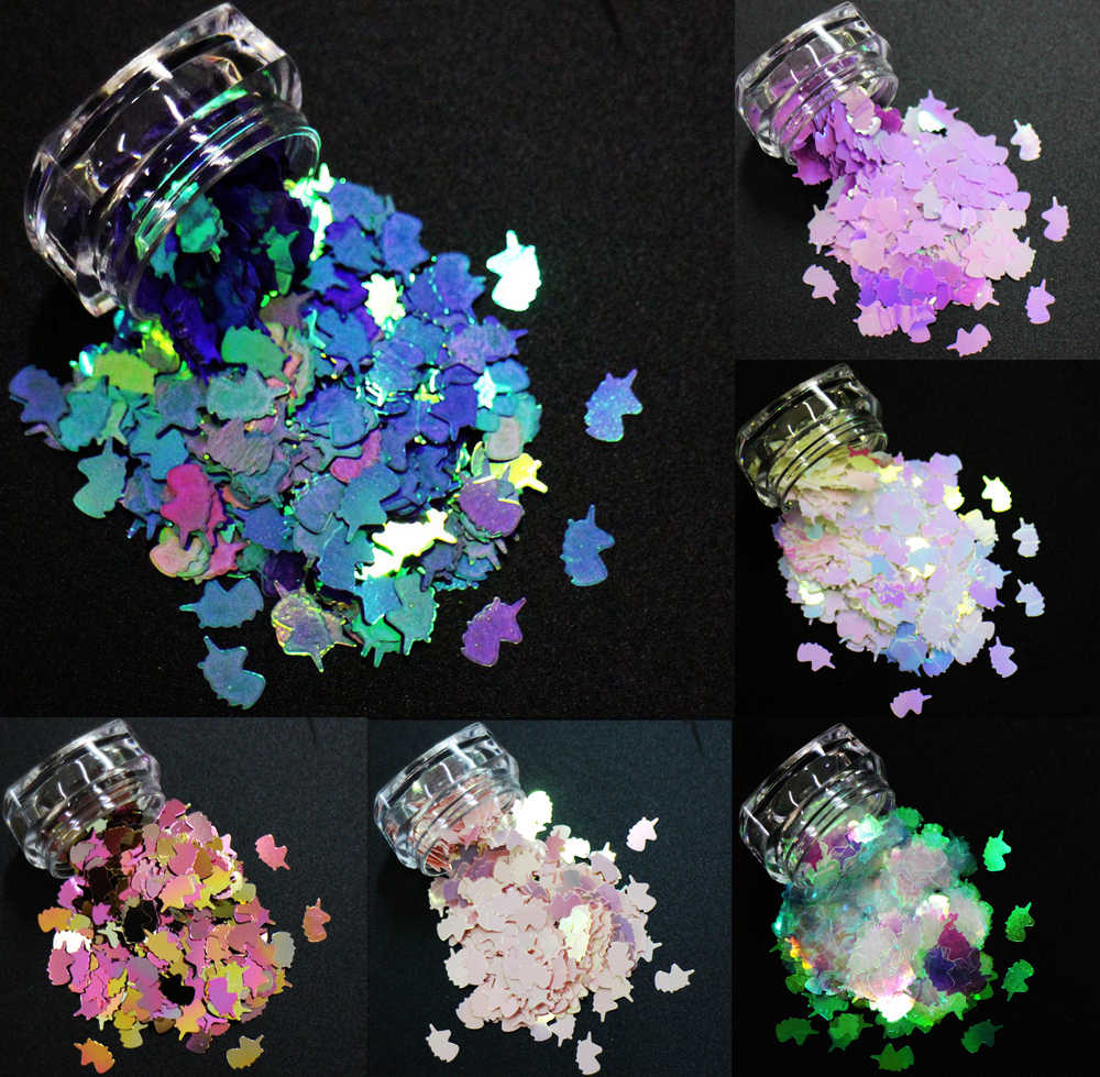 14 Colors! 8mm Unicorn Shapes Sequins, Iridescent Rainbow Shining Slices 3D nail art glitters paillettes