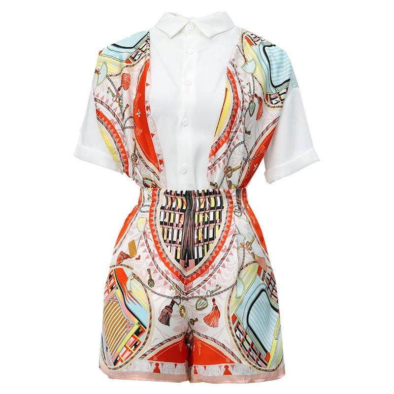 Debutante WOMEN'S Suit 2019 New Style Summer Wear Short-sleeved Shirt Short High-waisted Shorts Trendy Two-Piece Set