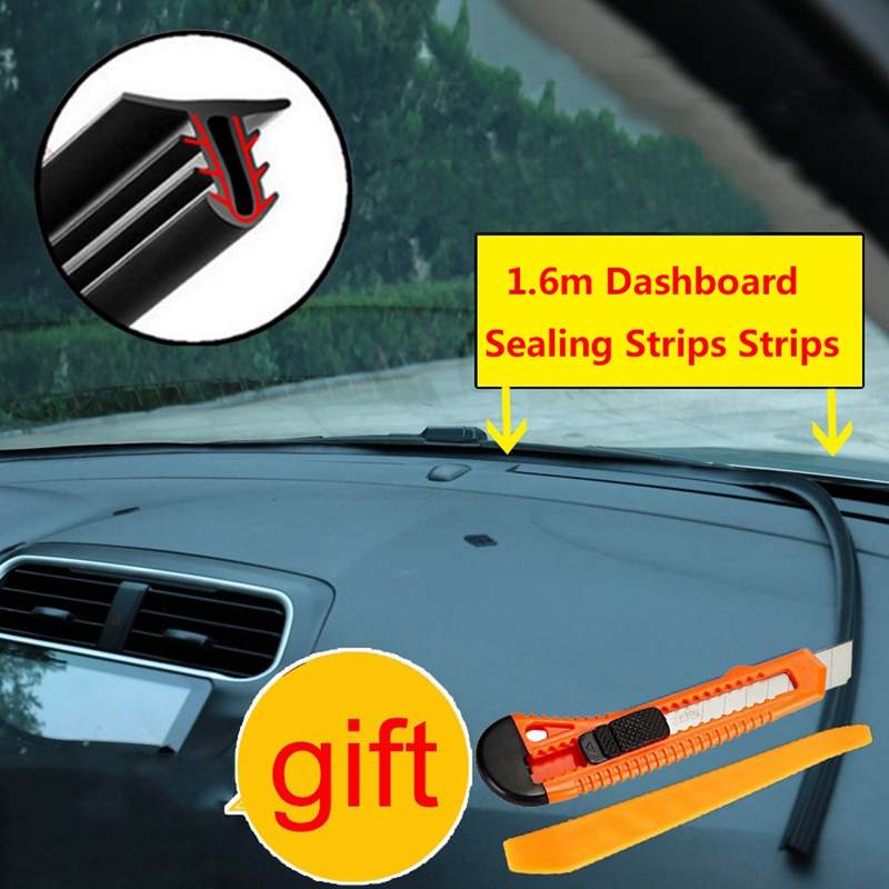 1.6M Black Soundproof Anti-dust Seal Strip Trim For Car Dashboard Windshield H